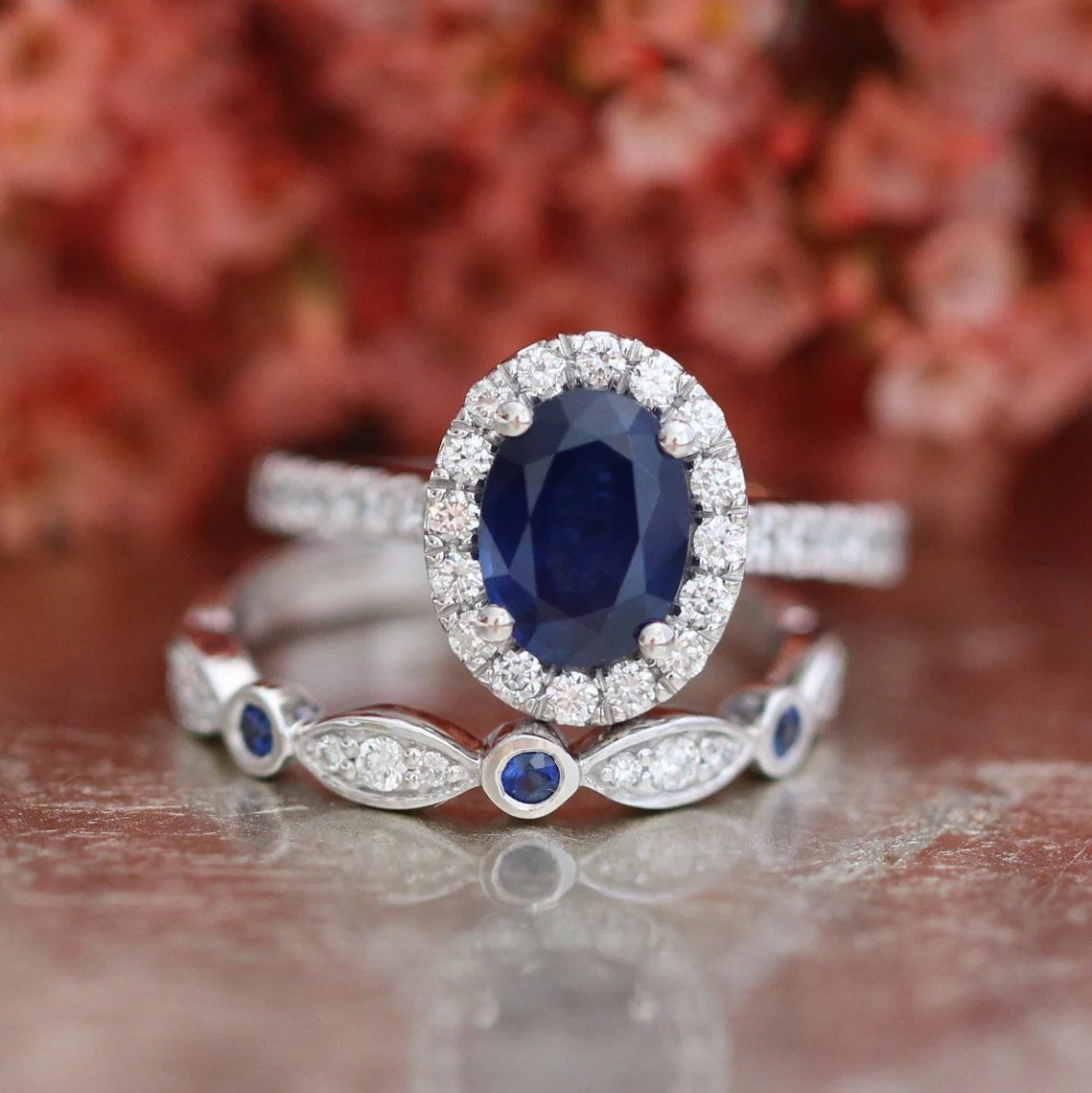 Blue Sapphire Engagement Ring And Bezel Scalloped By Lamoredesign