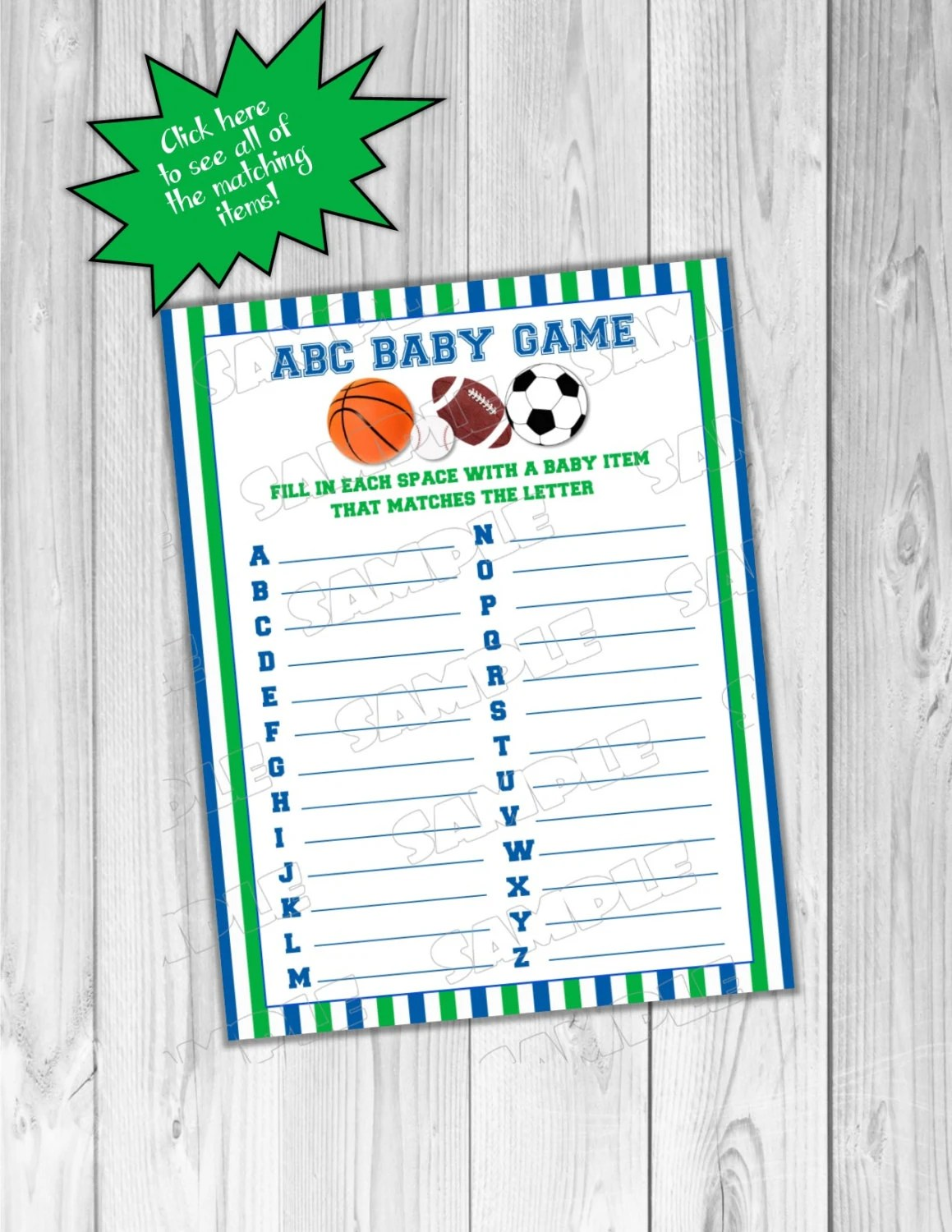 Sports Baby Shower Games Abc Baby Game Balls Printable Instant