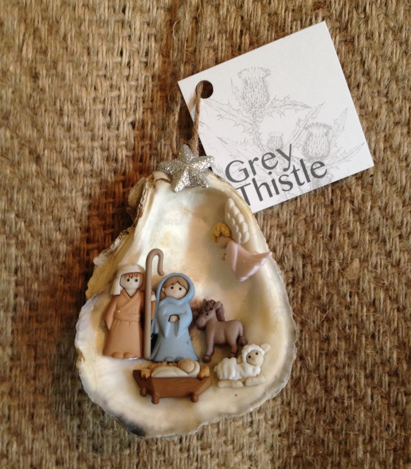 Louisiana Oyster Shell Nativity Ornament By Greythistledesigns