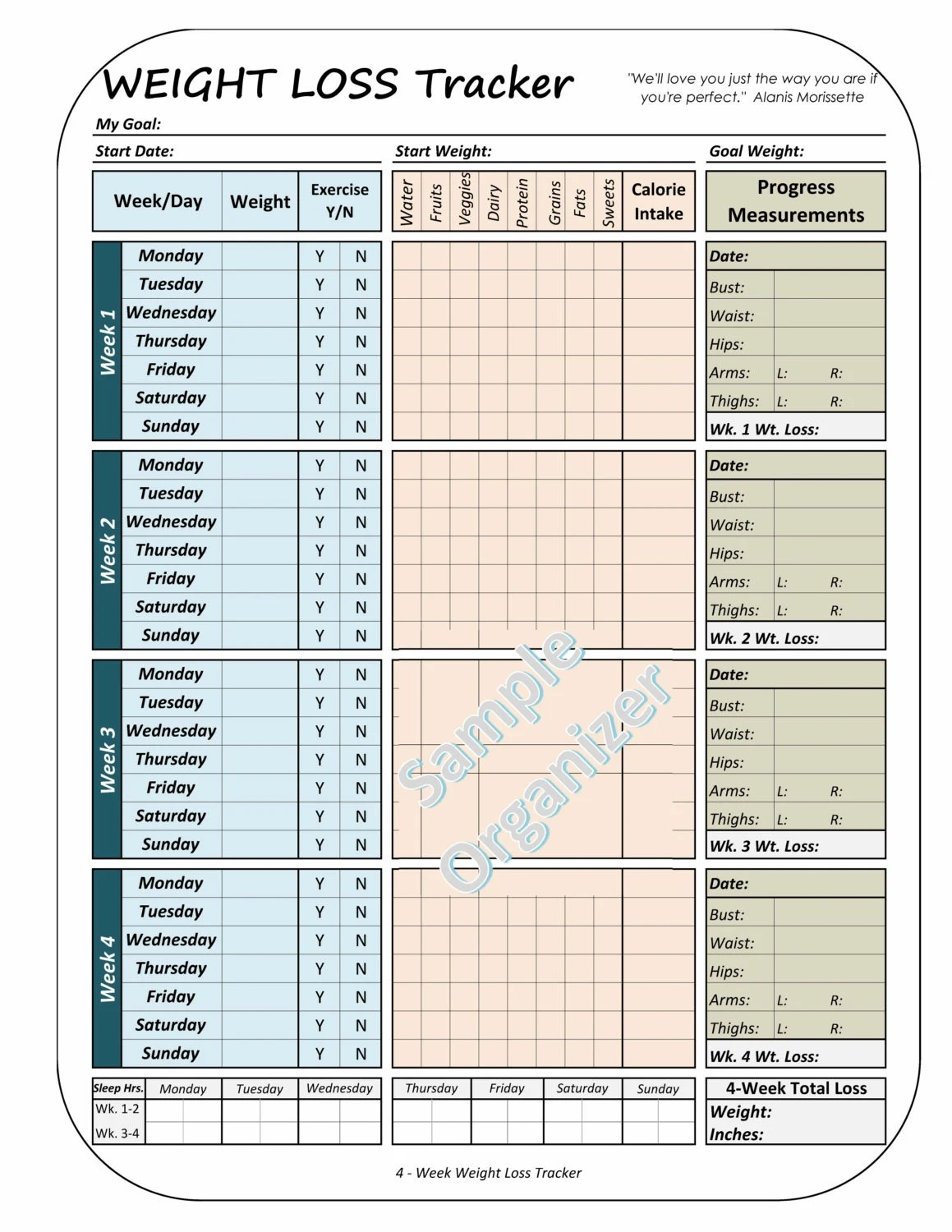 Weight Loss Printable Worksheet