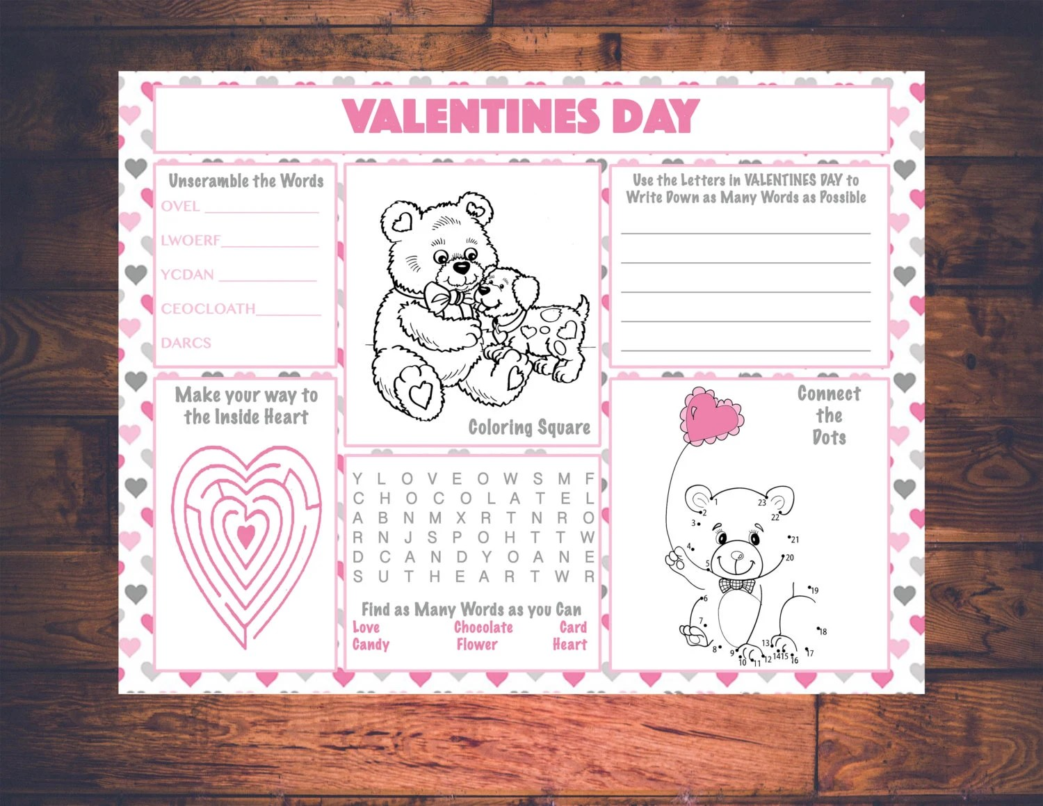 Kids Valentines Day Activity Printable Placemat Instant