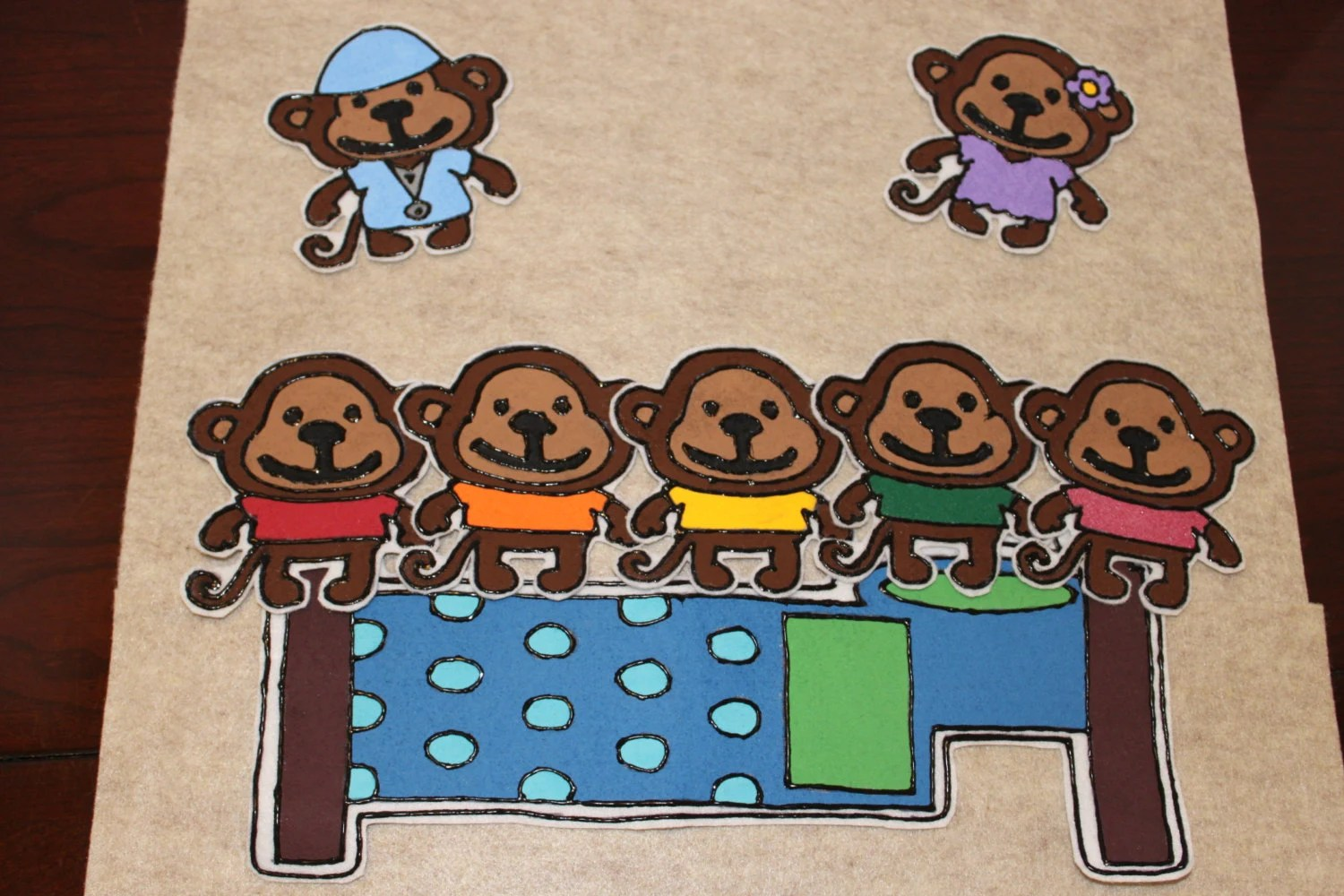 Five Little Monkeys Felt Preschool Educational By Alikasclubhouse