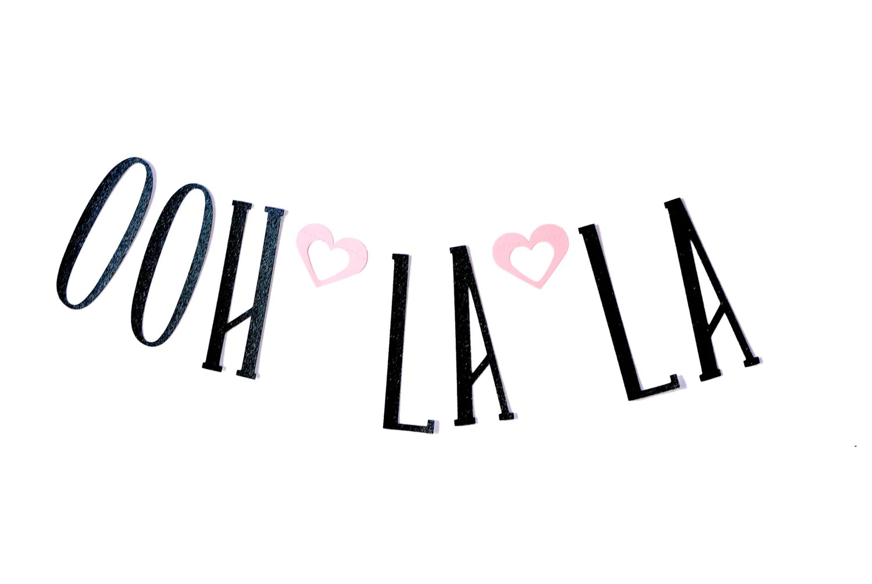 Ooh La La Paris Themed Paper Glitter Garland By