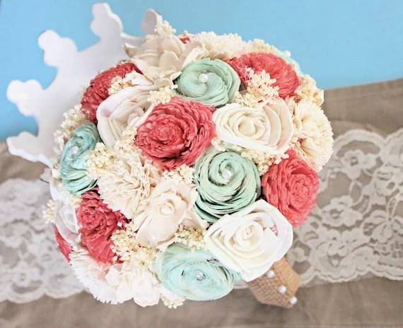 Natural Wedding Bouquet Coral Mint Ivory Bridal Bridesmaid