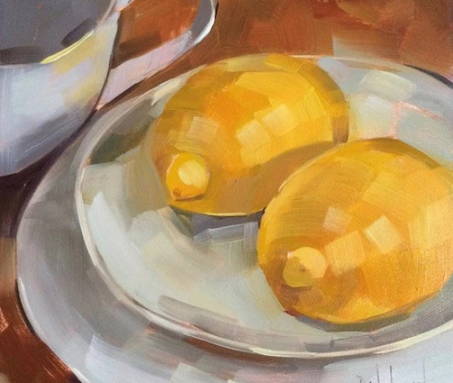 Twin Lemons Original Oil Painting  Inches Free Domestic Shipping