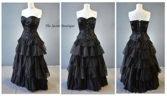 Couture Black Corset Dress-gothic Prom-steampunk-prom-denver