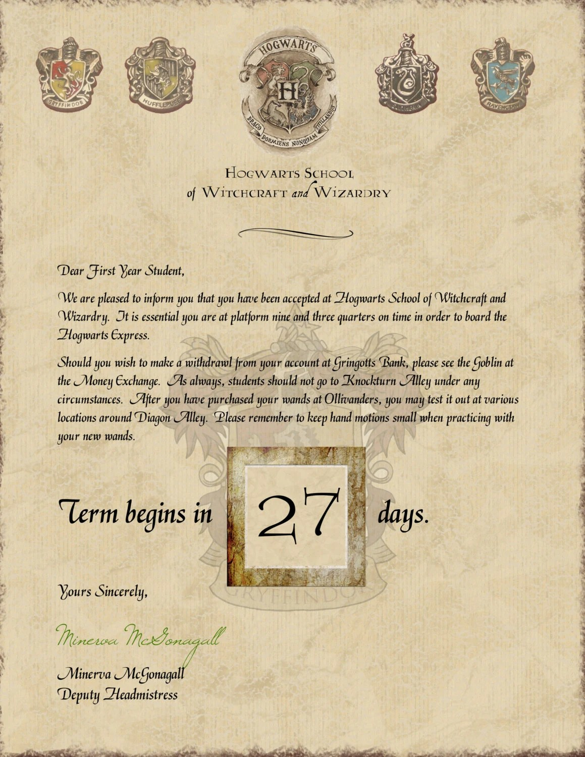 Harry Potter Hogwarts Acceptance Letter Countdown With