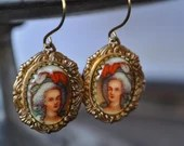 Marie Antoinette Vintage Glass Cabochon Earrings in Crown Scroll Setting - Vintage Assemblage