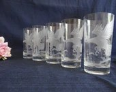 Five Glass Tumblers with ...