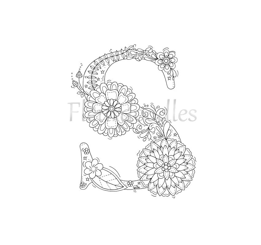 adult coloring page floral letters alphabet s hand lettering ...