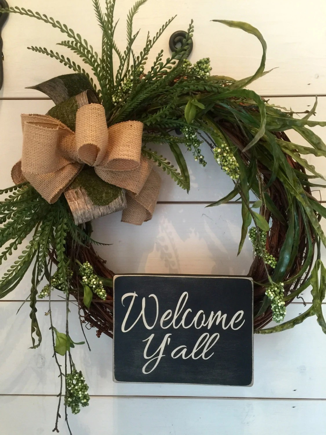 Items Similar To Welcome Yall Wreath Wood Signs