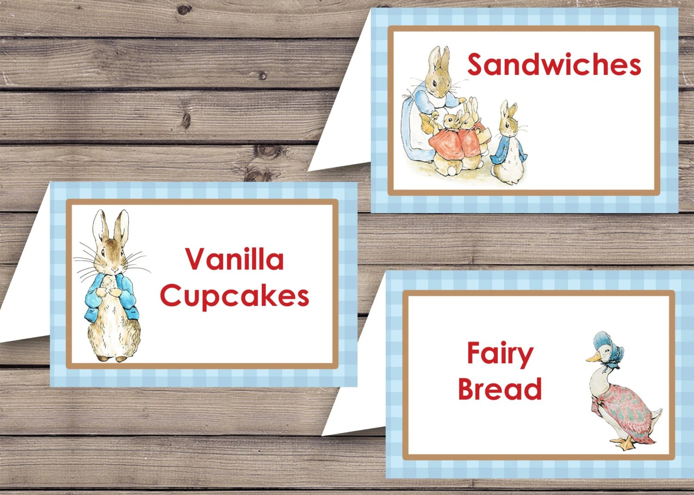 Peter Rabbit Party Food Label Template Digital By Artworkbyanti