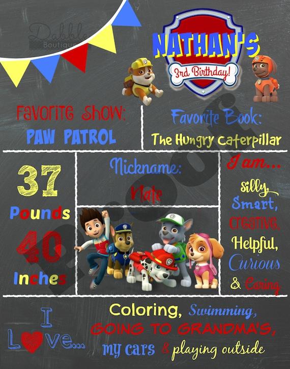 Paw Patrol Birthday Chalkboard