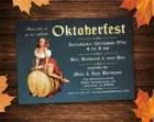 Oktoberfest Invitation | Pin-Up Girl & Keg | Instant Download - Printable Invitations w/ Editable Text DIY PDF - Blue