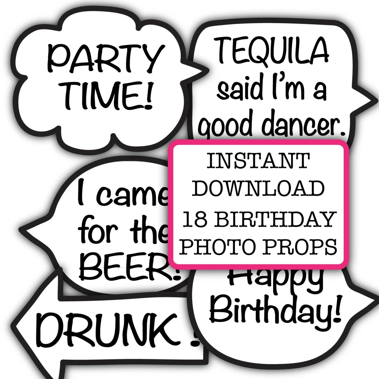 Funny Birthday Party Photo Booth Props Instant Download Adult