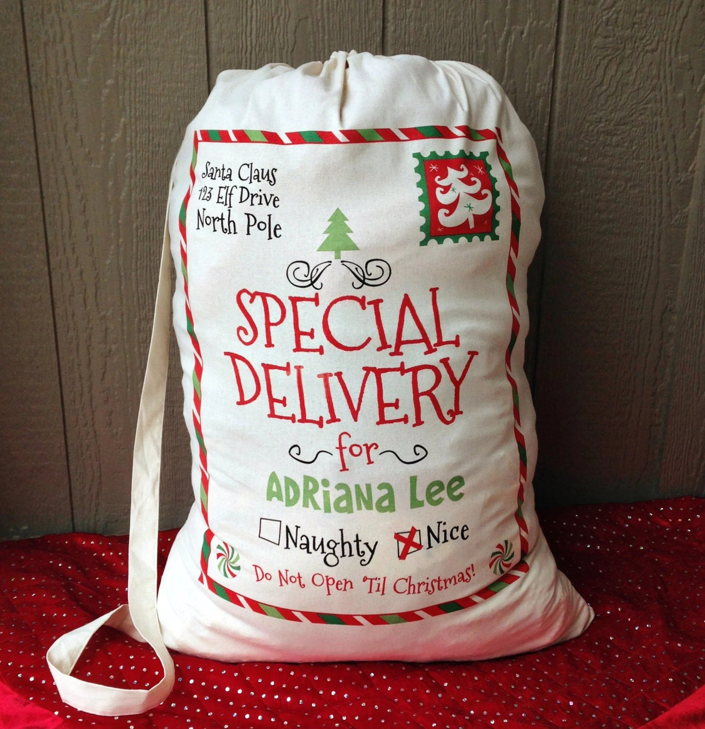 Personalized Santa Sack Santa Sacks Christmas By Maleydesigns