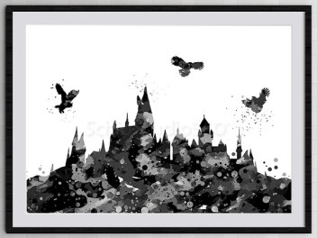 Hogwarts Castle From Harry Potter Watercolor Art Print Archival Fine Art Print Home Decor Children's Wall Art Wall Hanging Birthday Gift 2