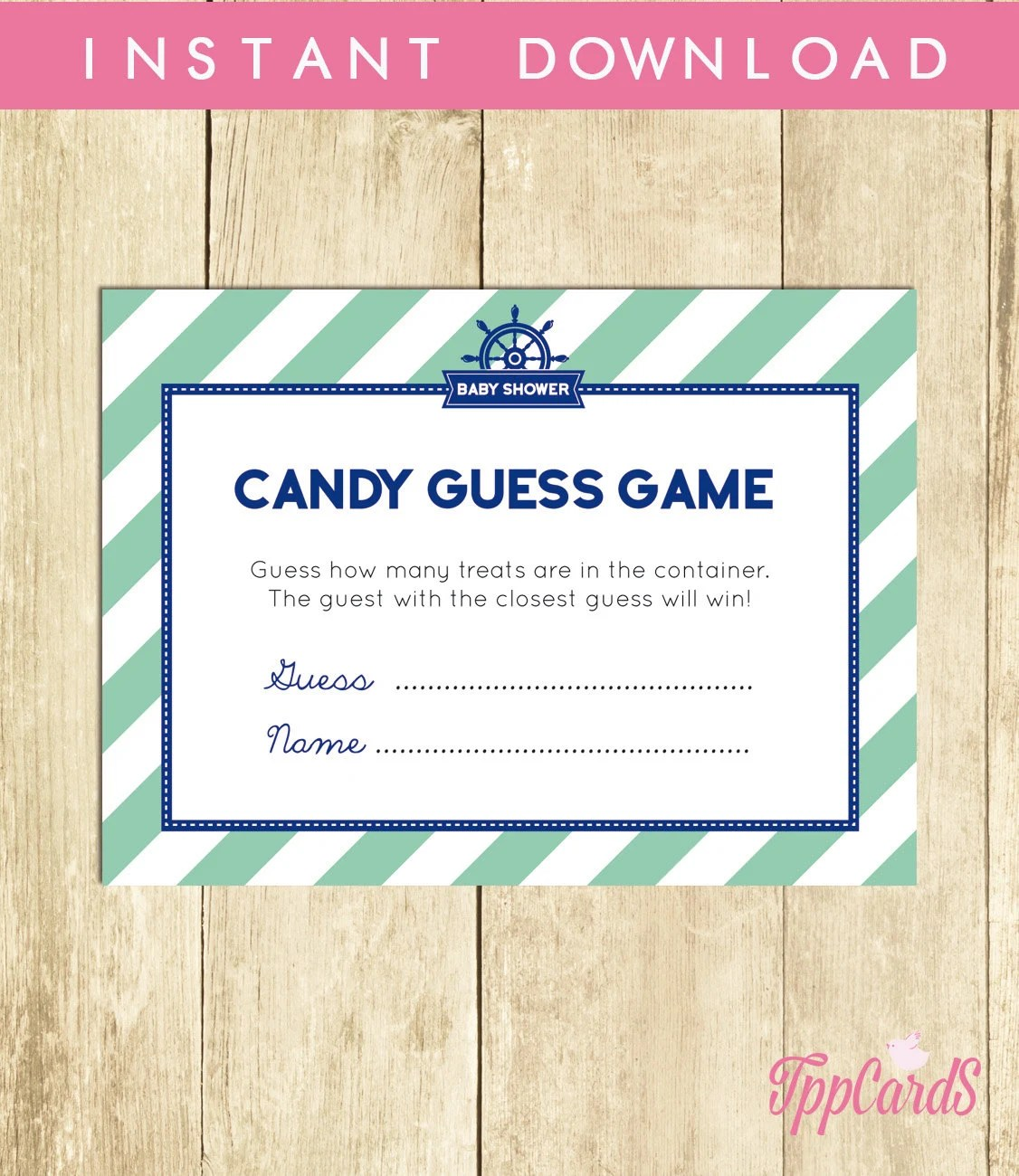 Nautical Baby Shower Candy Guessing Game Guess How Many