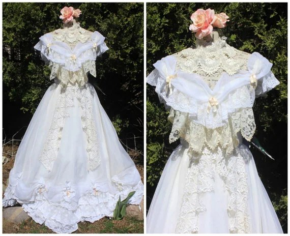 Victorian Wedding Dress Vintage Lace Southern Belle Size