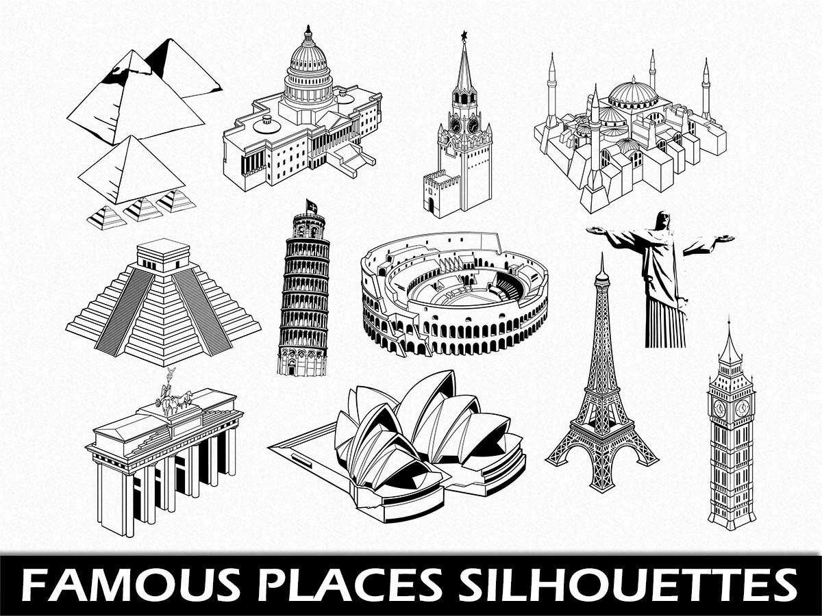 Famous Places Clip Art Graphic Landmarks Clipart Digital Scrapbook Silhouette Eiffel Tower Pisa