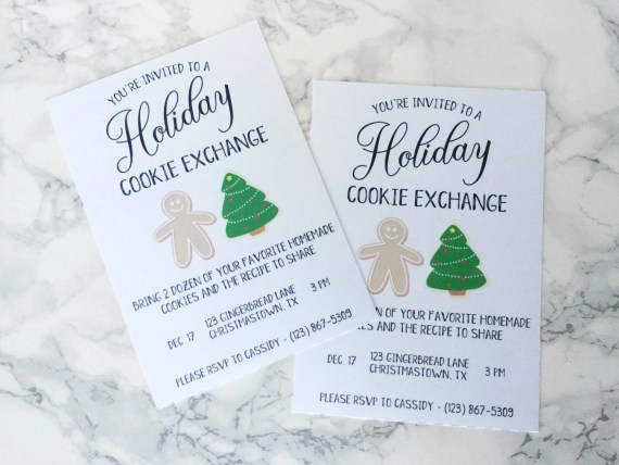 Holiday Cookie Exchange Party Invitation Paper Invites Gingerbread Man Christmas Tree