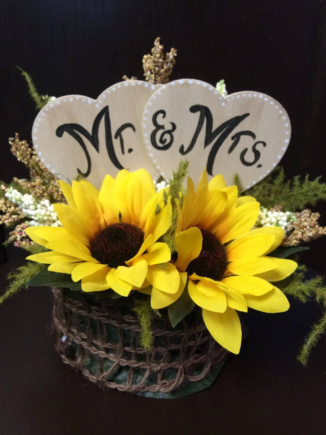 Rustic Sunflower Mr Amp Mrs Wedding Cake Topper Your Own