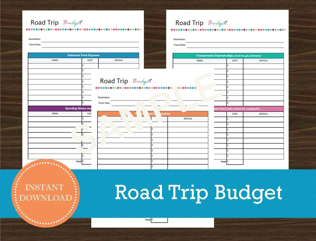 Road Trip Budget Sheet Travel Planner Vacation Planner