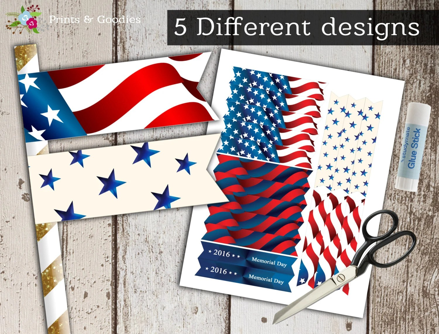 Memorial Day Party Decoration Printable Straw Tags American Flag 4 July Patriotic Printables