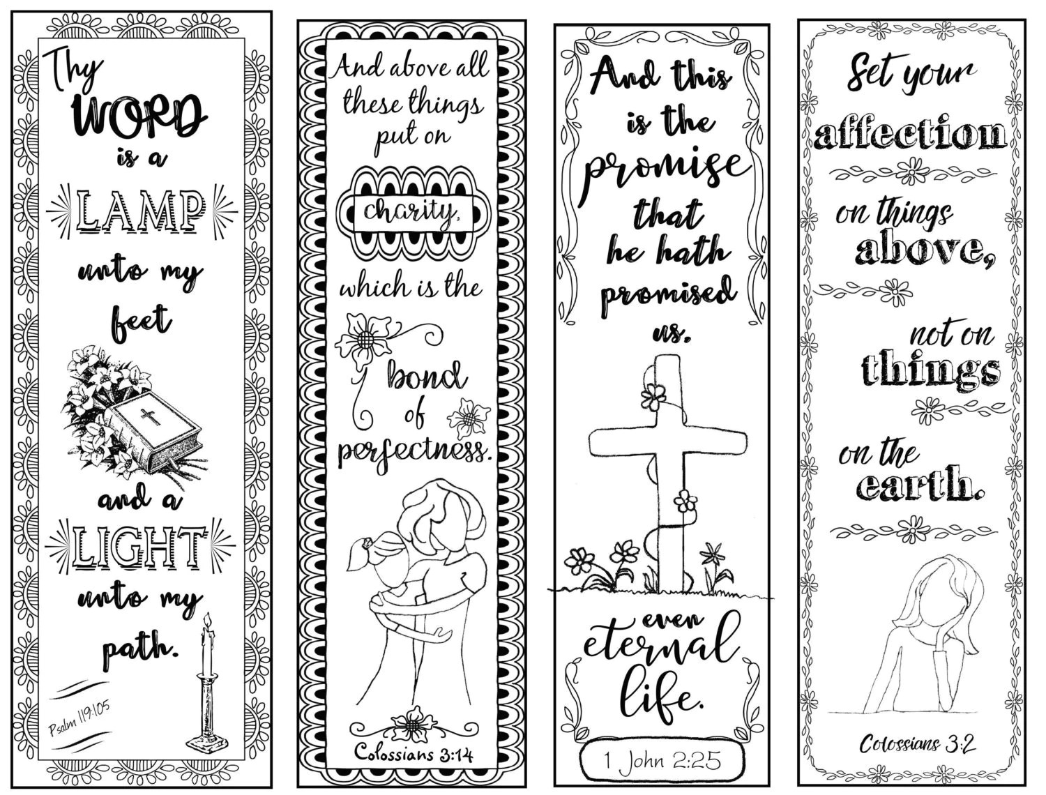 Bible Verse Bookmarks B W Color Your Own Print And Cut