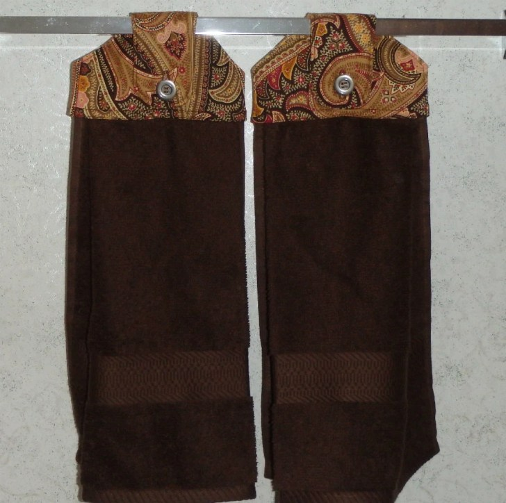 Hanging Cloth Top Kitchen Hand Towels Brown Gold