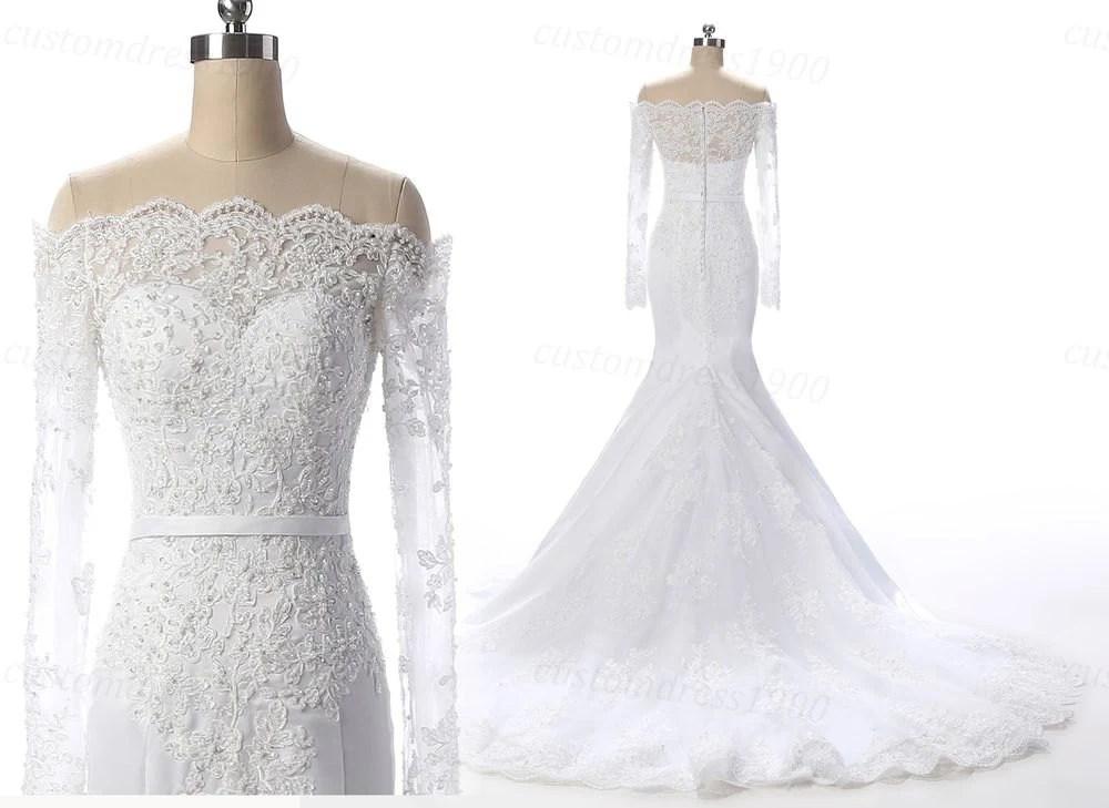 Long Sleeves Elegant Wedding Dress Handmade By Customdress1900