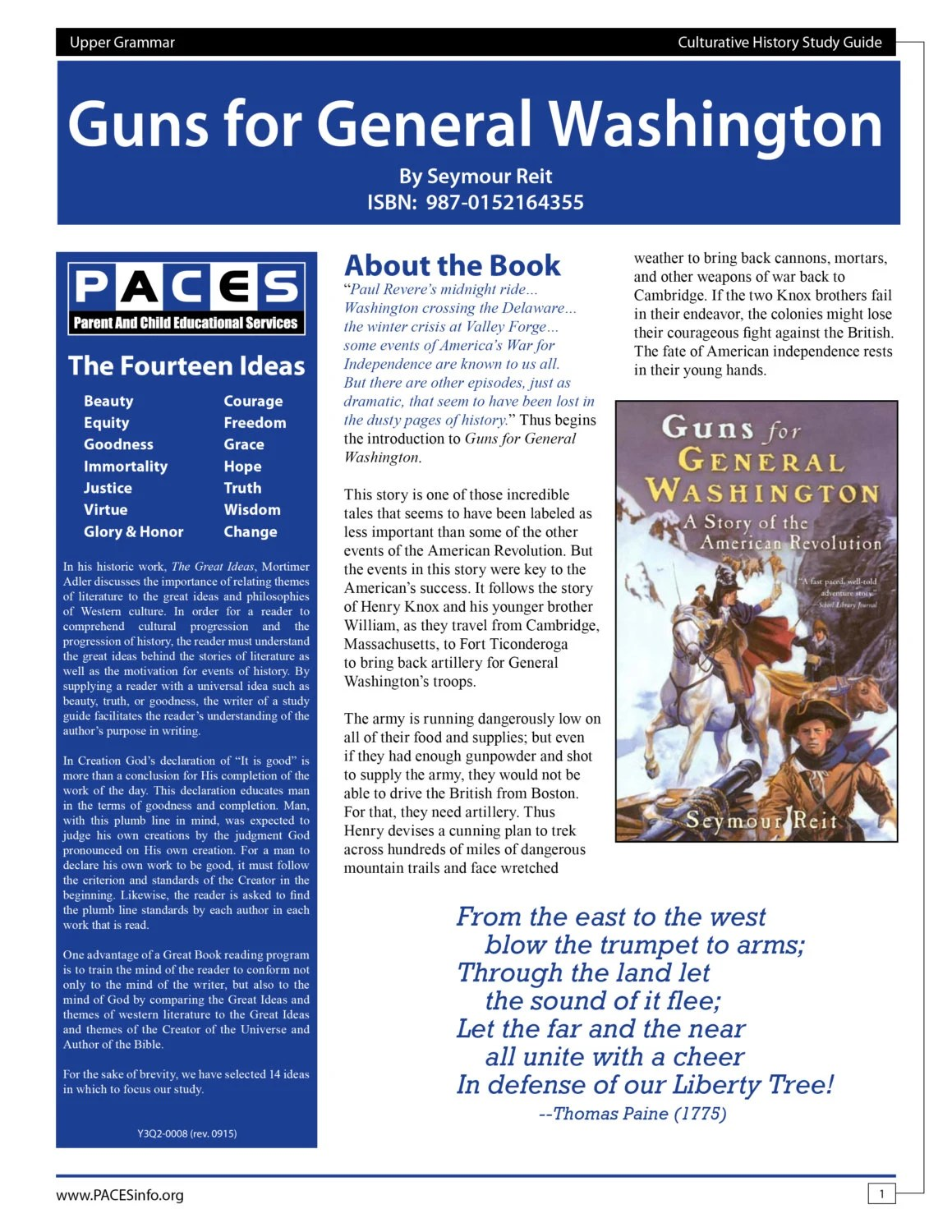 Guns For General Washington Study Guide With Answer Key