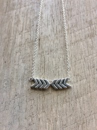 Silver Chevron Duo Necklace, Bar Necklace, Short Necklace, Chevron Necklace, Rustic Modern Jewelry, FREE SHIPPING (U.S.)