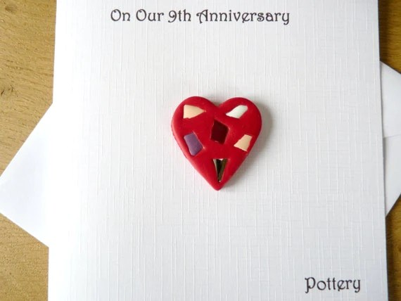 9th Wedding Anniversary Card Pottery Ninth By