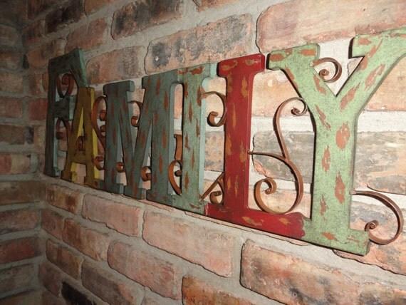 Family Metal Wall Decor Rustic Finish Home Decor Scroll