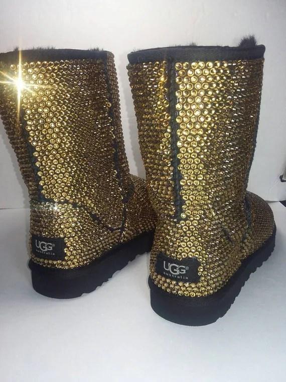 Custom Classic Ugg Boots Black Classic Uggs Swarovski Uggs
