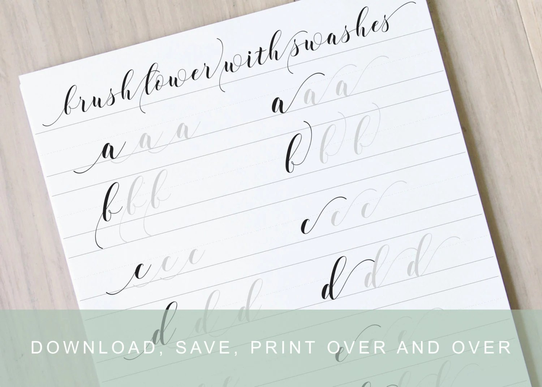 Brush Lettering Worksheet 2 Calligraphy Swashes Learn Brush
