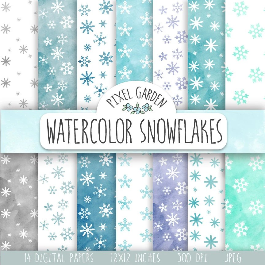 Snowflakes Digital Paper Watercolor Snowflake Digital