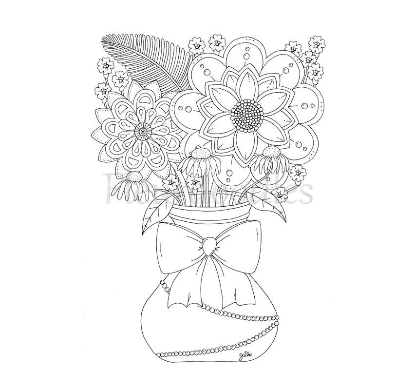 Ausmalbild Zum Ausdrucken Blumemvase Malbilder