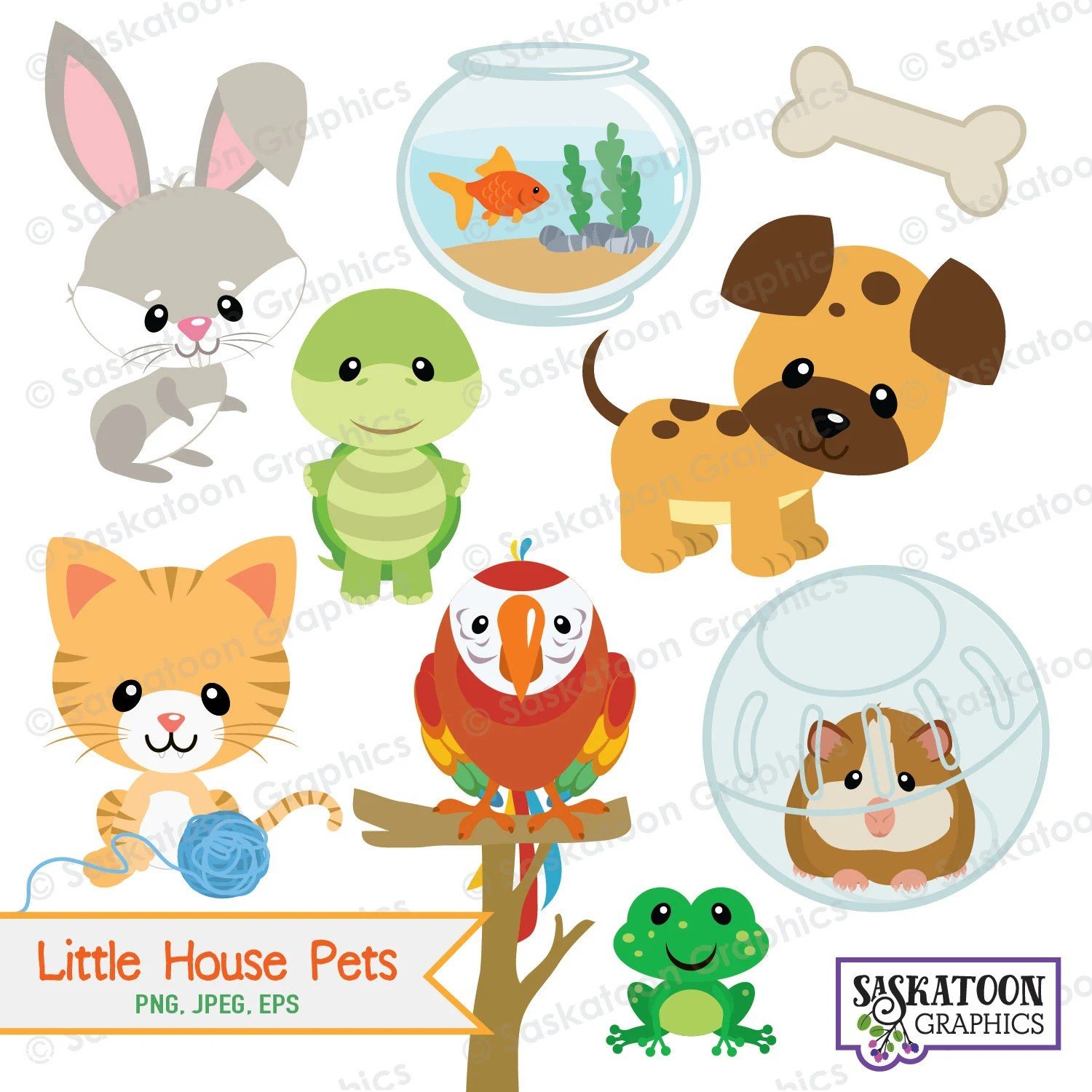 Little House Pets Animal Clipart Instant Download File
