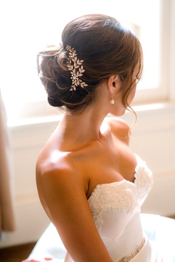 Rose Gold Bridal Comb Wedding Hair Comb Crystal Fall Leaves