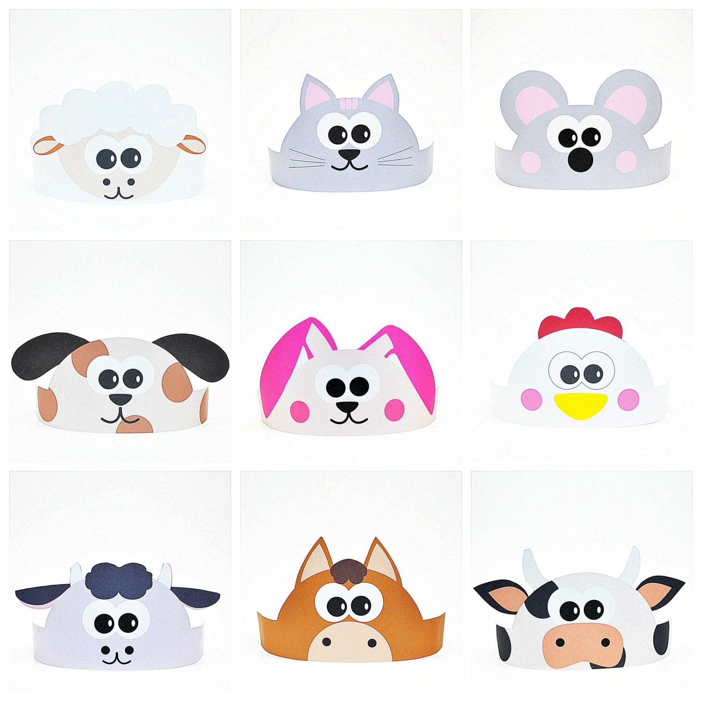 11 Farm Animals Paper Crowns Set Diy Paper Hats Template Kit