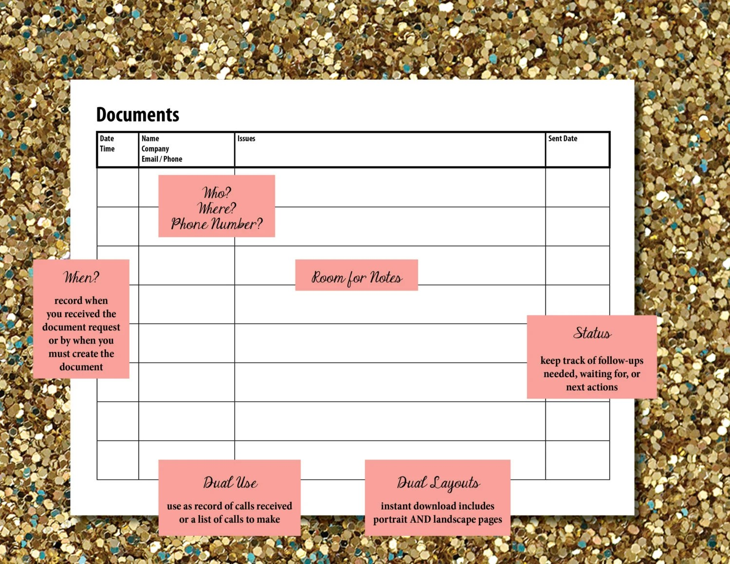 Documents To Create Worksheet Document Log Document Record