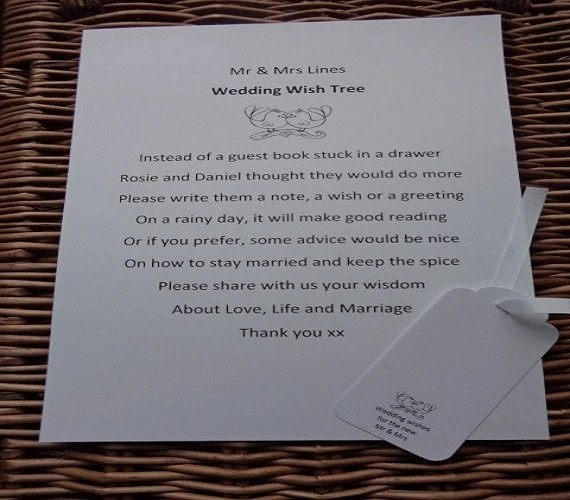 Wishing Tree Guest Book Sign Wedding Wish Tree Poem Wishing