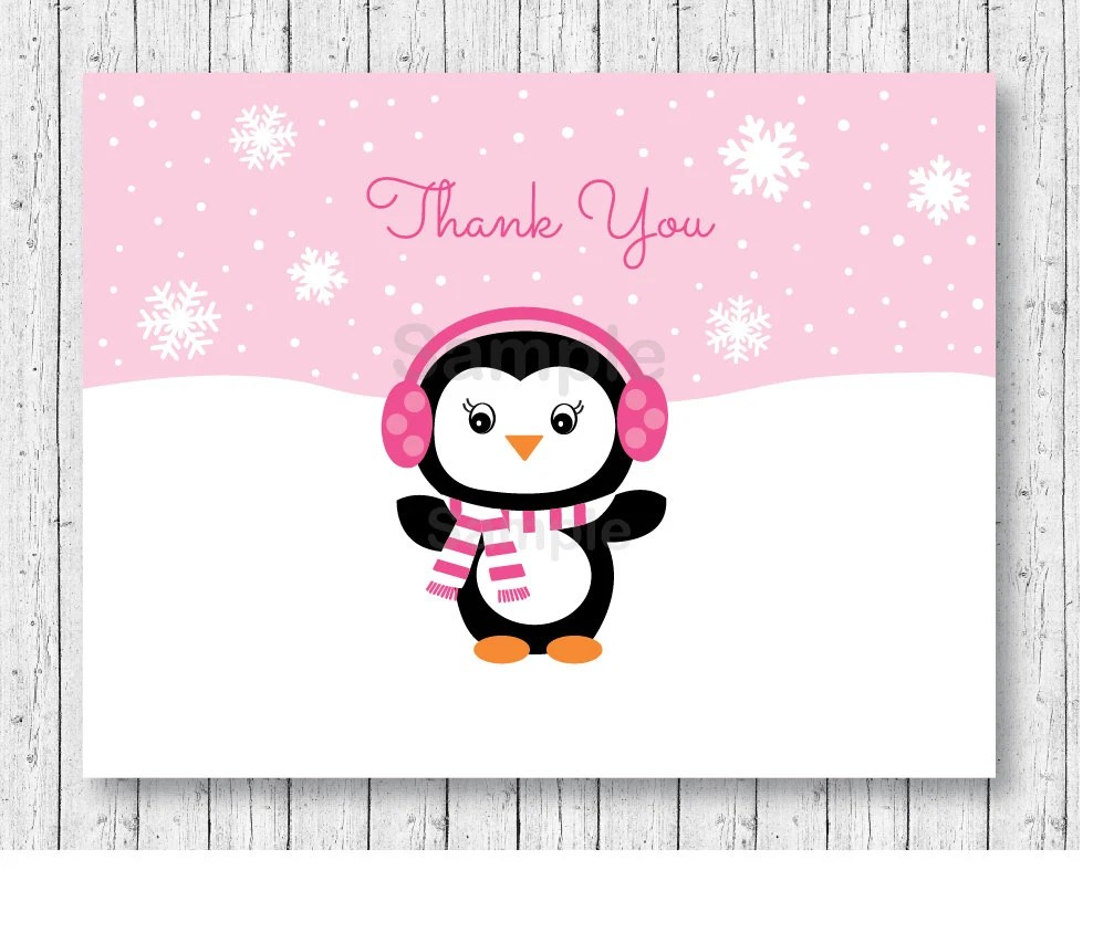 Cute Pink Penguin Thank You Card Folded Card Template