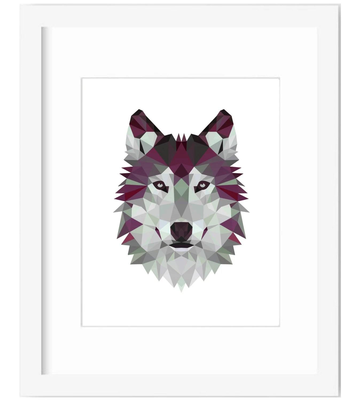Wolf Wall Art Wolf Art Wolf Print Geometric Wolf Geometric
