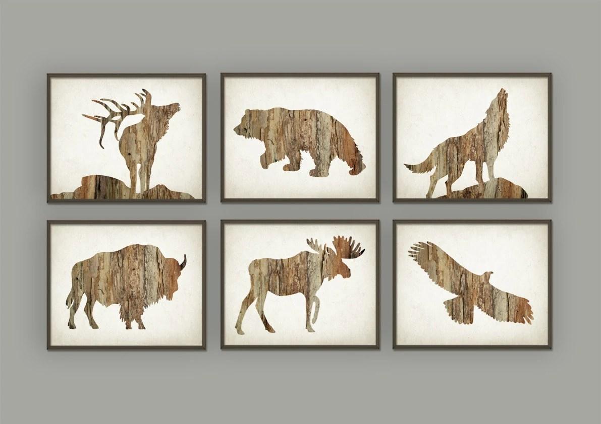 Hunting Wall Art Print Set Of 6 Deer Buffalo Bear Eagle Wolf
