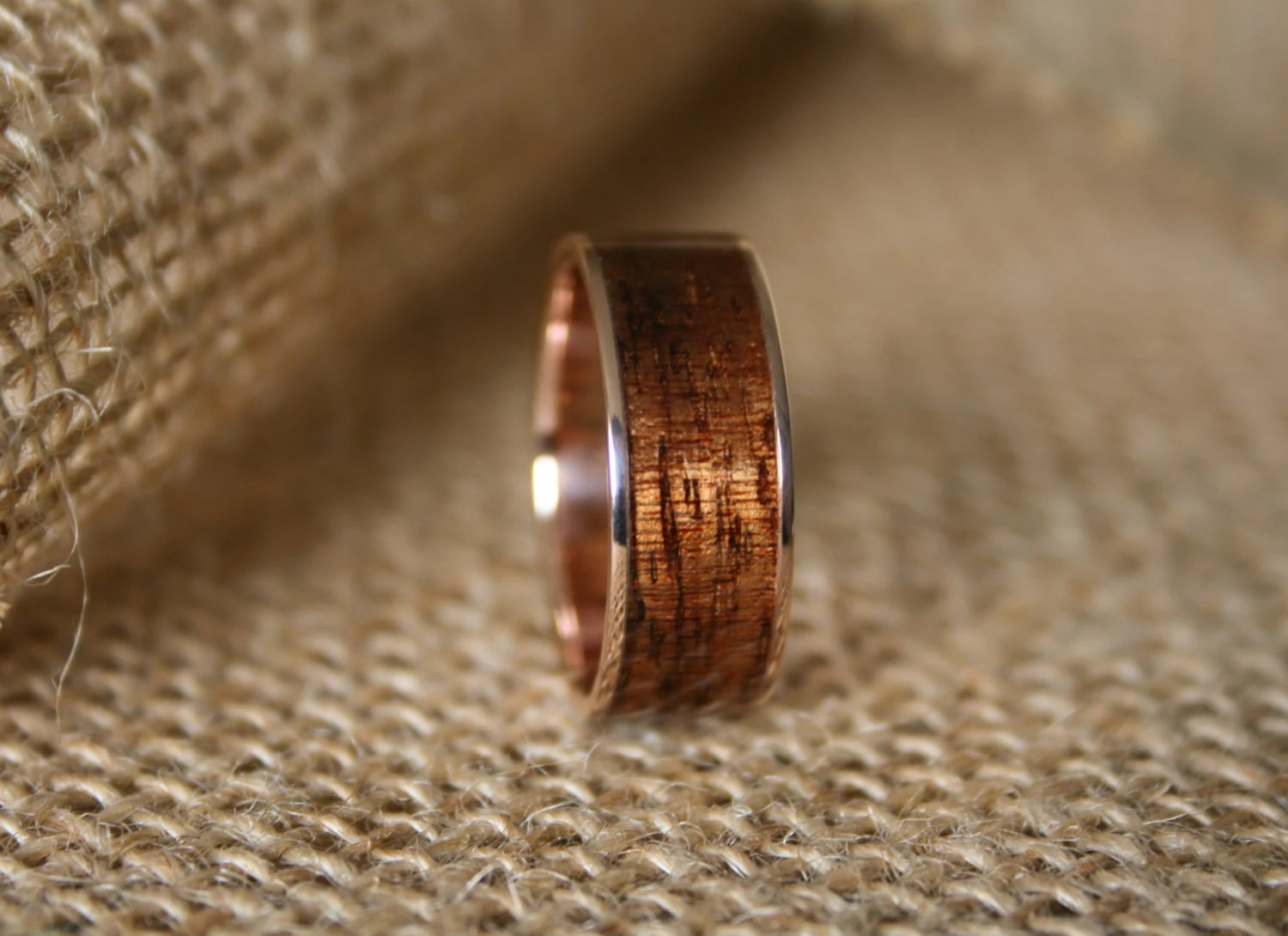 Mens Wedding Band 14k Rose Gold Ring With Hawaiian Koa