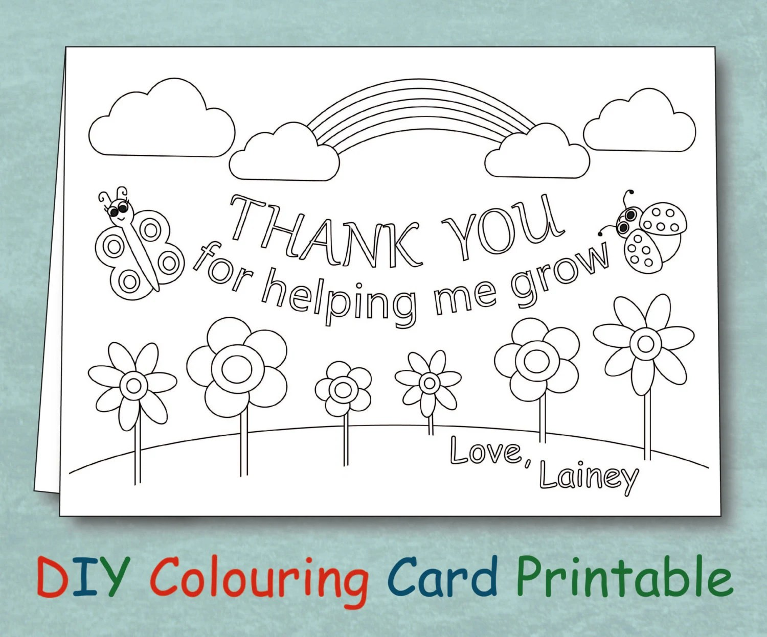 Personalized Coloring Teacher Thank You Card Printable