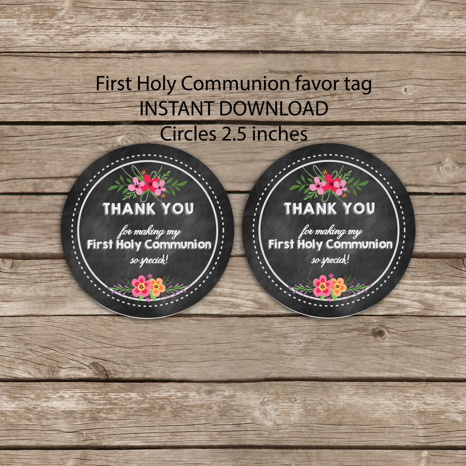 Thank You Favor Tag First Communion Printable By Okprintablesshop